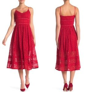 NWT NSR-Nordstrom Dress Sleeveless Red Lace Large